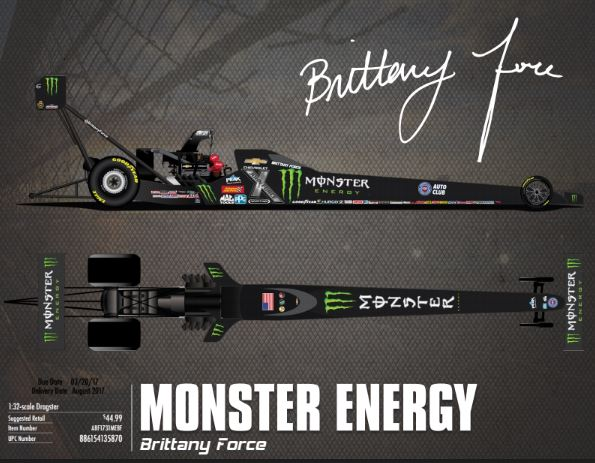 2017 Brittany Force Monster Energy 1:32 Top Fuel Dragster Diecast Car.