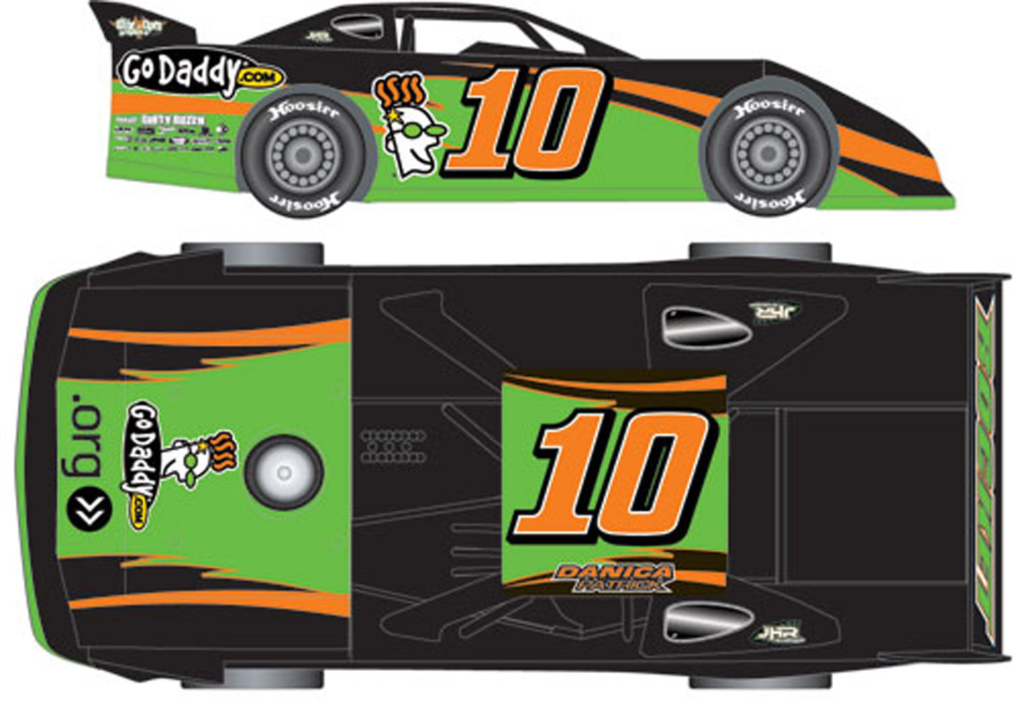 2012 DANICA PATRICK  #10 Go Daddy 1/24 Dirt Late Model Car