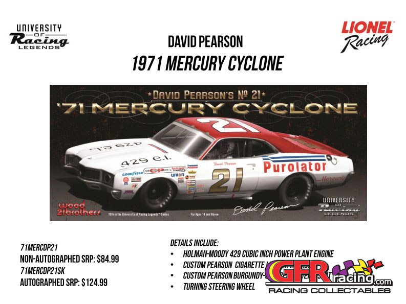 1971 David Pearson #21 Purolator .Mercury Cyclone 1:24  Diecast Car