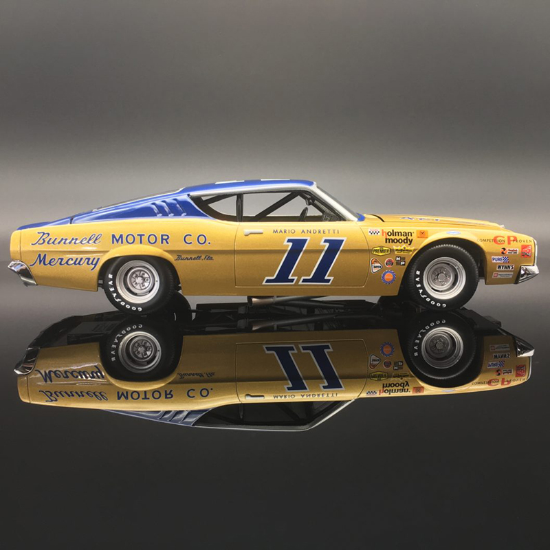"Mario Andretti  #11 Bunnell Motor Co. 1968 Mercury Cyclone ""Autographed"" 1:24  Diecast Car."