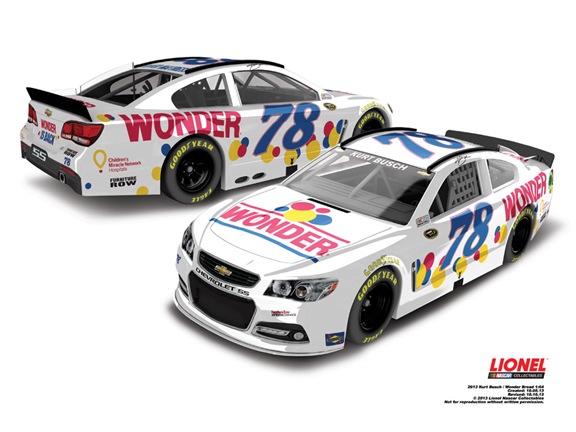2013 Kurt Busch #78 Wonder Bread 1/24 Diecast Car.