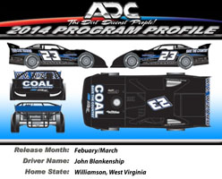 2014 John Blankenship #23 Coal Save the Country 1/24 Dirt Late Model Diecast Car
