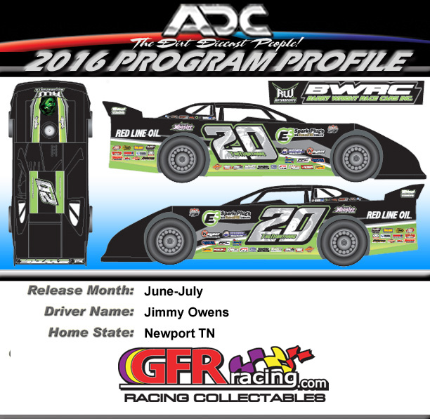 2016 JIMMY OWENS #20 1/64 Dirt Late Model Diecast Car.