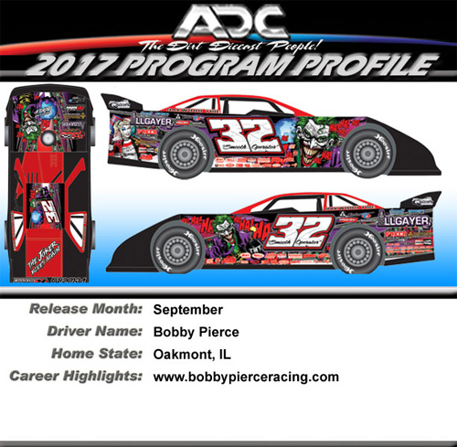 2017 Bobby Pierce #32 Joker World 100 1/64 Dirt Late Model Diecast Car.