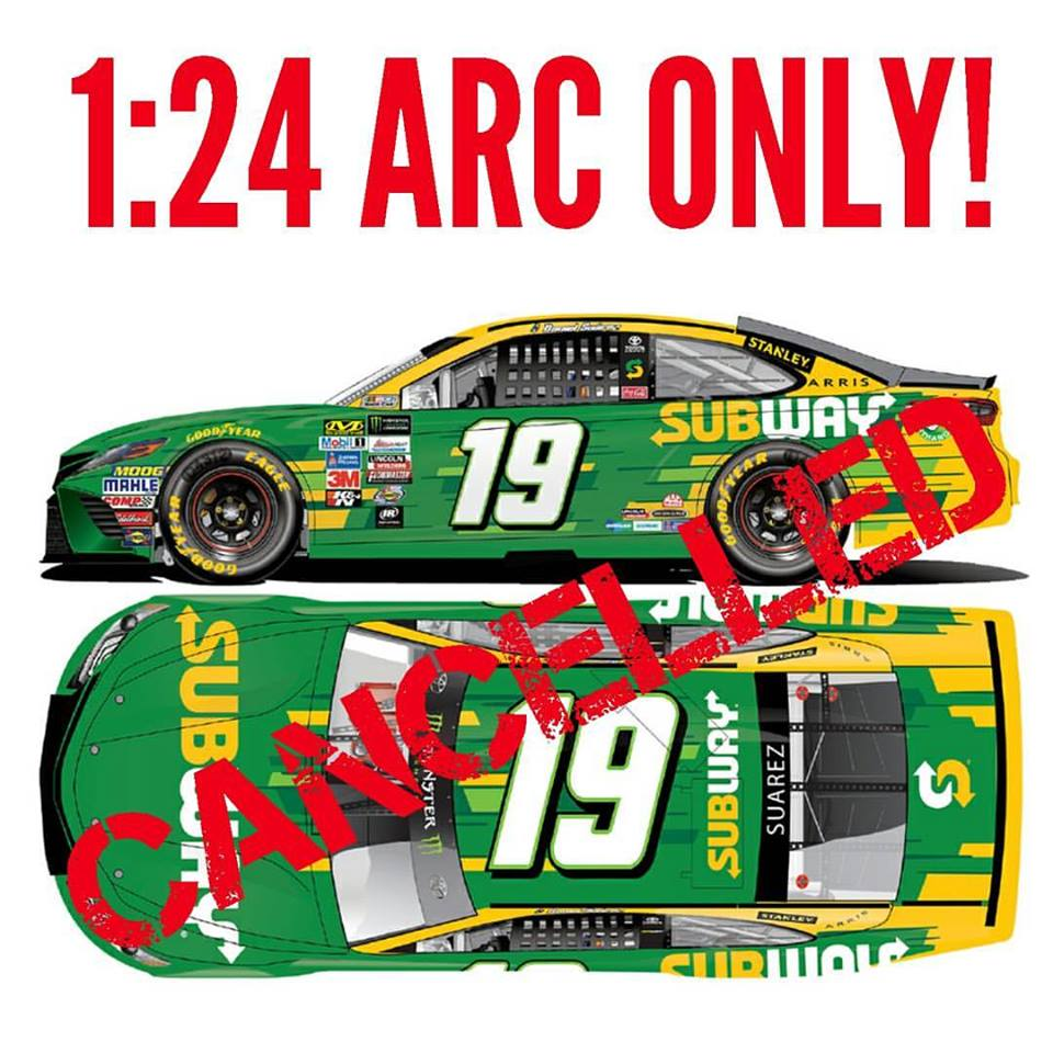 2017 Daniel Suarez #19 Subway 1:24 Diecast Car