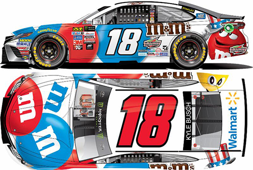 2017 Kyle Busch #18 M&M's Red, White & Blue 1:24 HOTO Diecast Car