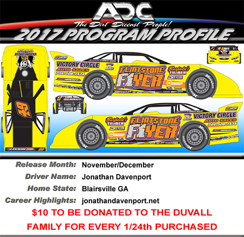 2017 Jonathan Davenport Mike Duvall Tribute 1/24 Dirt Late Model Diecast Car