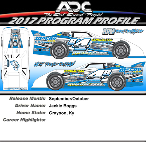 2017 Jackie Boggs #4B 1/24 Dirt Late Model Diecast Car.