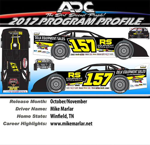 2017 Mike Marlar #157 1/24 Dirt Late Model Diecast Car