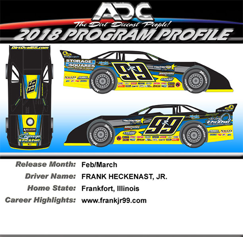 2018 Frank Heckenast Jr #99r 1/24  Dirt Late Model Diecast Car.