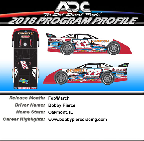 2018 Bobby Pierce #32 1/24 Dirt Late Model Diecast Car