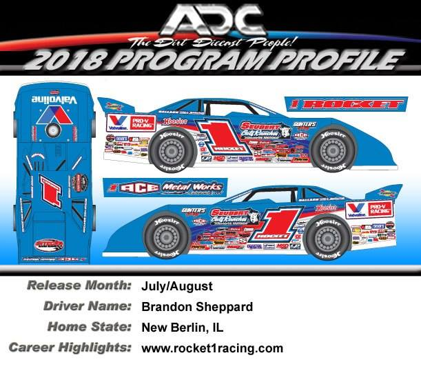 2018 Brandon Sheppard #1 Dirt Late Model 1:24 Diecast Car