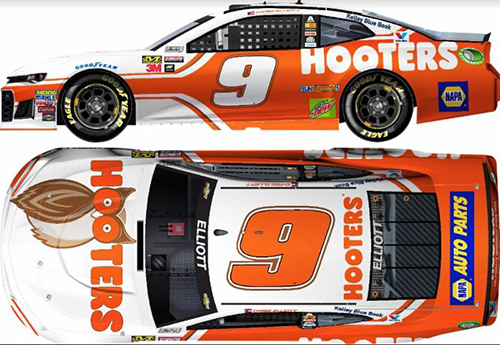 2018 Chase Elliott #9 Hooters RCCA Elite 1:24 Diecast Car.