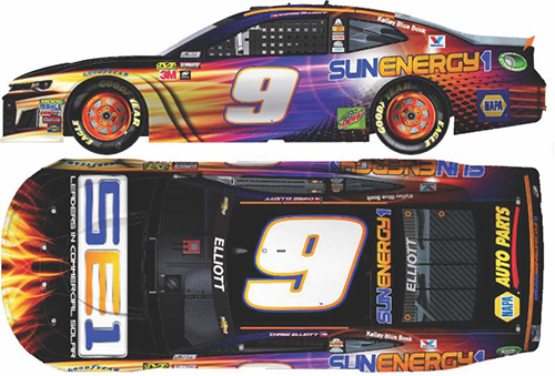2018 Chase Elliott #9 SunEnergy1 RCCA Elite 1:24 Diecast Car.
