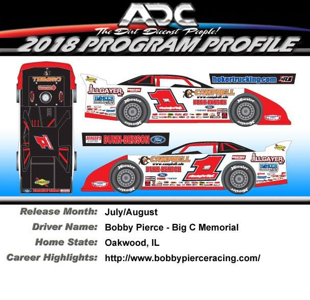"2018 Bobby Pierce #1 ""Big C Memorial"" 1/24 Dirt Late Model Diecast Car"