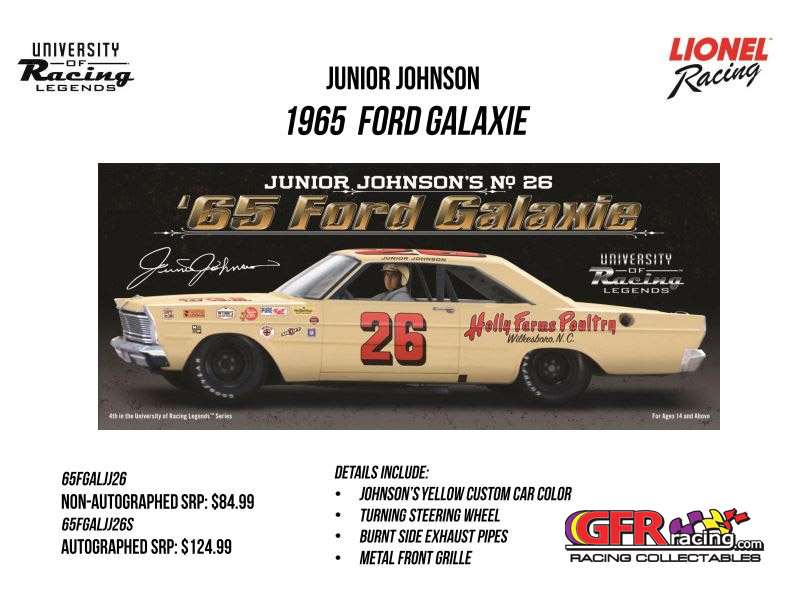 "1965 Junior Johnson #26 Holly Farms Poultry Galaxie 'AUTOGRAPHED"" 1:24 UOR Diecast Car"