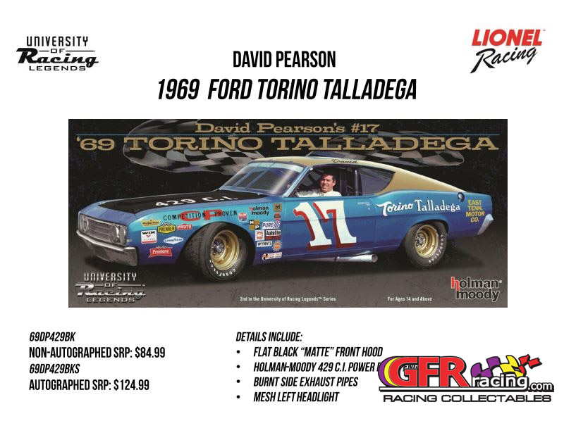 "1969 David Pearson East Tenn Motor Co.""AUTOGRAPHED"" Ford Torino Talladega 1:24 Diecast Car"
