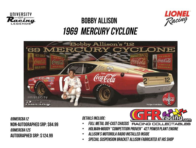 1969 Bobby Allison #12 Coca Cola. Mercury Cyclone 1:24  Diecast Car.