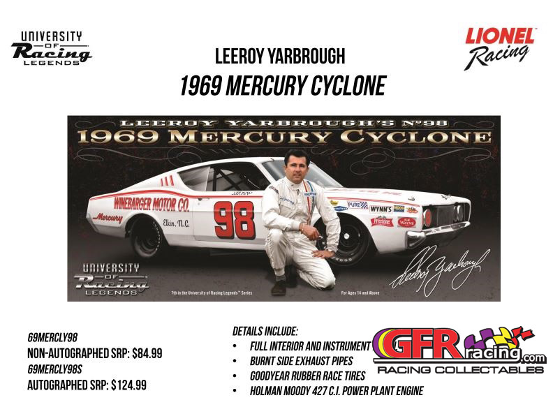 "1969 LeeRoy Yarbrough  #98 Winebarger Motor Co. ""Autographed"" Mercury Cyclone 1:24  Diecast Car"
