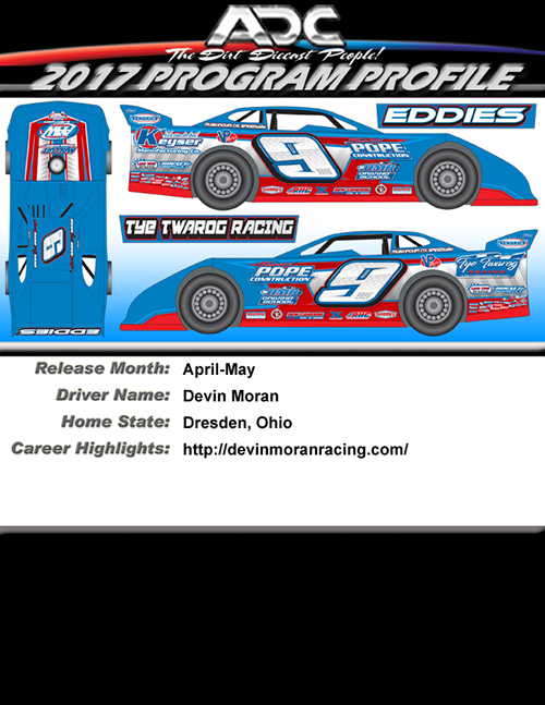 2017 Devin Moran #9 1/24 ADC Dirt Late Model Diecast Car